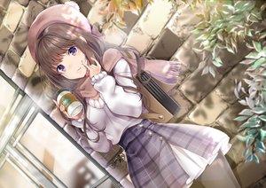 Rating: Safe Score: 72 Tags: akatsuki_hijiri aliasing brown_hair drink hat huion original pantyhose purple_eyes scarf skirt User: BattlequeenYume