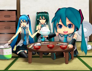Rating: Safe Score: 28 Tags: aqua_hair asanome_(noboes) blue_eyes blue_hair fan food hatsune_miku mikudayoo thighhighs tie twintails vocaloid User: FormX