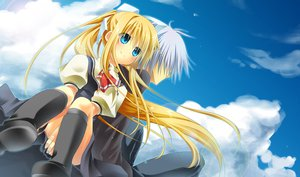 Rating: Safe Score: 69 Tags: air blonde_hair blue_eyes boots clouds gray_hair kamio_misuzu kunisaki_yukito natskua_(unagi-unagi-unagi) ponytail school_uniform sky User: STORM