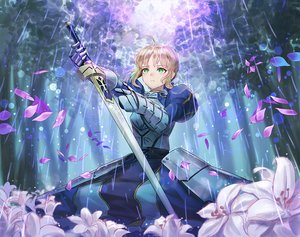 Rating: Safe Score: 54 Tags: armor blonde_hair dress fate_(series) fate/stay_night flowers green_eyes kankito petals saber short_hair sword weapon User: RyuZU