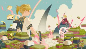 Rating: Safe Score: 23 Tags: blonde_hair clouds fan japanese_clothes kagamine_len kagamine_rin katana kimono landscape long_hair male ponytail rainbow scenic seifuku sky sword tagme_(artist) torii tree vocaloid weapon yellow_eyes User: otaku_emmy