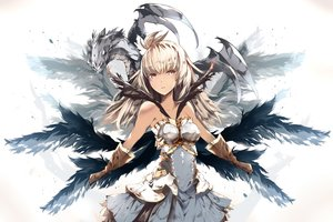 Rating: Safe Score: 51 Tags: armor blonde_hair dark_skin dragon dress gloves granblue_fantasy long_hair tagme_(artist) the_order_grande wings yellow_eyes User: BattlequeenYume