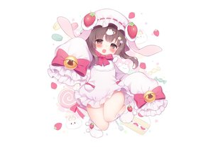 Rating: Safe Score: 34 Tags: animal_ears bell blush bow brown_eyes brown_hair bunny bunny_ears candy dress fang food fruit hat koma_momozu loli lollipop short_hair strawberry white User: otaku_emmy