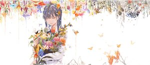 Rating: Safe Score: 28 Tags: black_hair bouno_satoshi bow butterfly flowers food fruit long_hair original ribbons shirt water white User: otaku_emmy