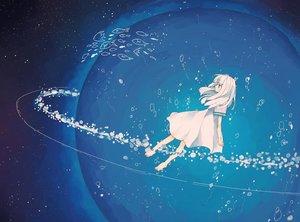Rating: Safe Score: 81 Tags: animal aqua_eyes barefoot bubbles dress fish long_hair matsuki_(mikipingpong) original planet polychromatic underwater water white_hair User: あかり