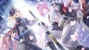 Rating: Safe Score: 33 Tags: 2girls blonde_hair breasts cape cherry_blossoms cleavage flowers gloves hat long_hair mullpull petals pink_eyes pink_hair sarashi short_hair spear sword underwear uniform weapon User: otaku_emmy