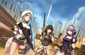 Rating: Safe Score: 50 Tags: animal anthropomorphism aqua_hair bird breasts brown_eyes brown_hair building city desert girls_frontline gray_eyes gray_hair green_eyes gun long_hair m249_saw_(girls_frontline) m4a1_(girls_frontline) ndtwofives ponytail robot shorts signed sky steyr_scout_(girls_frontline) tail uniform weapon User: Nepcoheart