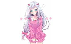 Rating: Safe Score: 133 Tags: aqua_eyes blush bow eromanga-sensei gray_hair izumi_sagiri loli long_hair sakura_hiyori shorts white User: RyuZU