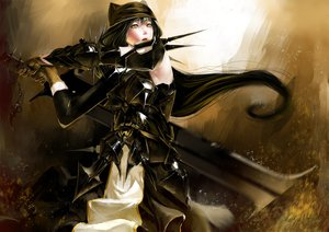 Rating: Safe Score: 115 Tags: armor hat karasu-san_(syh3iua83) long_hair original sword weapon yellow_eyes User: FormX