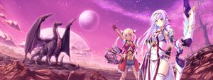 Rating: Safe Score: 110 Tags: 2girls blonde_hair blue_eyes bow_(weapon) clouds dark_skin dragon dualscreen gloves long_hair moon original pointed_ears red_eyes stars tenmaso weapon white_hair User: Zolxys
