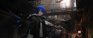 Rating: Safe Score: 30 Tags: arknights asteroid_ill blue_eyes blue_hair building city halo horns mostima_(arknights) scenic shirt short_hair wings User: PrimalAgony
