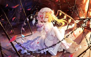 Rating: Safe Score: 68 Tags: asa_ni_haru blonde_hair breasts chain cleavage flandre_scarlet garter_belt mask no_bra ponytail red_eyes stockings thighhighs touhou vampire wings wristwear User: luckyluna