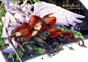 Rating: Safe Score: 144 Tags: animal_ears bandage boots brown_hair gloves gun kuina_(escapegoat) navel original pink_eyes pixiv_fantasia red_eyes short_hair spear sword tail tattoo torn_clothes weapon white_hair wings User: FormX