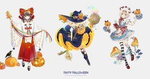 Rating: Safe Score: 32 Tags: alice_margatroid animal apron aqua_eyes bird black_hair blonde_hair blue_eyes bow braids doll dress ekita_xuan hakurei_reimu halloween hat headband japanese_clothes kirisame_marisa miko ribbons shanghai_doll short_hair touhou watermark white witch witch_hat yellow_eyes User: RyuZU
