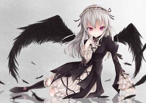 Rating: Safe Score: 139 Tags: feathers gothic headdress kneehighs lolita_fashion long_hair nikkunemu rozen_maiden suigintou white_hair wings User: Flandre93