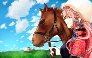 Rating: Safe Score: 9 Tags: animal blue_eyes clouds funkid hat horse megurine_luka pink_hair vocaloid User: FormX