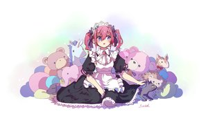 Rating: Safe Score: 36 Tags: animal apron blue_eyes cat dress headdress kagawa_yuusaku maid original pink_hair short_hair signed teddy_bear twintails white User: RyuZU