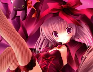 Rating: Safe Score: 40 Tags: animal cat elbow_gloves original pink_eyes pink_hair thighhighs tinkle witch User: SciFi