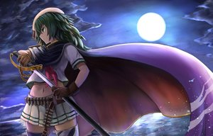 Rating: Safe Score: 76 Tags: anthropomorphism cape gloves green_eyes green_hair hat kantai_collection kiso_(kancolle) moon navel night okitsugu school_uniform skirt sword thighhighs water weapon User: Flandre93