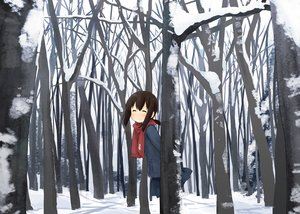 Rating: Safe Score: 49 Tags: abe_kanari forest fubuki_(kancolle) kantai_collection scarf snow tree winter User: Maboroshi