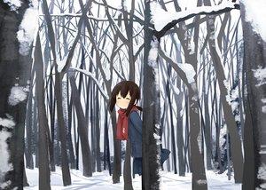 Rating: Safe Score: 87 Tags: abe_kanari anthropomorphism forest fubuki_(kancolle) kantai_collection scarf snow tree winter User: Maboroshi