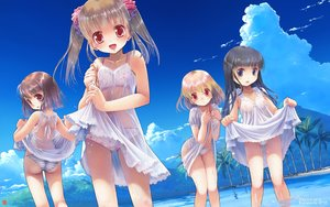 Rating: Questionable Score: 175 Tags: ass bra clouds dress group iuro landscape loli navel nipples no_bra original panties scenic see_through skirt skirt_lift striped_panties summer_dress underwear water watermark wet User: Wiresetc