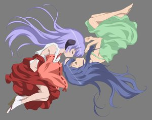Rating: Safe Score: 83 Tags: 2girls barefoot blue_hair dress flat_chest furude_rika hanyuu higurashi_no_naku_koro_ni horns japanese_clothes loli long_hair miko purple_hair sleeping transparent vector User: zoobezee