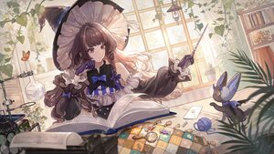 Rating: Safe Score: 78 Tags: book bow braids brown_hair butterfly doll gloves hat leaves long_hair magic original paper purple_eyes senryoko wand witch witch_hat User: BattlequeenYume