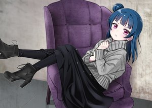 Rating: Safe Score: 63 Tags: blue_hair boots deadnooodles long_hair love_live!_school_idol_project love_live!_sunshine!! pink_eyes skirt stockings tsushima_yoshiko User: otaku_emmy