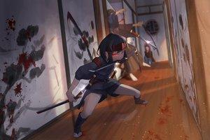 Rating: Safe Score: 52 Tags: blood headband katana male original red_eyes sako short_hair shorts sword weapon User: luckyluna