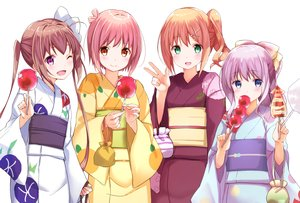 Rating: Safe Score: 35 Tags: aliasing apple blonde_hair blue_eyes blush bow brown_hair candy fang food fruit green_eyes group ichinose_hana japanese_clothes long_hair momochi_tamate na53 pink_hair ponytail purple_eyes purple_hair red_eyes sengoku_kamuri short_hair slow_start tokura_eiko twintails wink yukata User: otaku_emmy