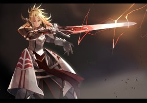 Rating: Safe Score: 46 Tags: armor blonde_hair dress fate/apocrypha fate/grand_order fate_(series) mono_(jdaj) mordred orange_eyes short_hair sword weapon User: RyuZU