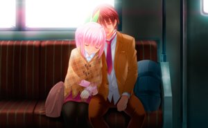 Rating: Safe Score: 26 Tags: brown_hair game_cg glasses houjou_akito ichiha_nia male pantyhose pink_hair short_hair sleeping tie touhikou_game train yasuyuki User: Precursor
