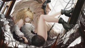 Rating: Safe Score: 60 Tags: animal animal_ears arknights boots brown_eyes brown_hair catgirl lion long_hair marumoru open_shirt siege_(arknights) skirt weapon User: BattlequeenYume