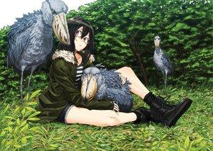 Rating: Safe Score: 44 Tags: animal bird black_hair glasses kawazu original User: opai