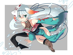 Rating: Safe Score: 51 Tags: aqua_hair hiiro_(kikokico) japanese_clothes mask tagme white_hair User: opai