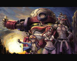 Rating: Safe Score: 142 Tags: bikini_top blue_hair boota breasts brown_eyes cleavage eroquis gloves goggles kamina katana lagann mecha ponytail red_hair scarf shorts simon sky sunglasses sunset sword tengen_toppa_gurren_lagann weapon yoko_littner User: SonicBlue