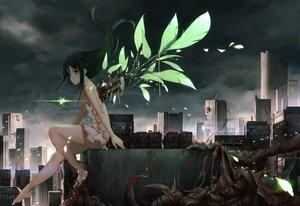 Rating: Safe Score: 127 Tags: barefoot black_hair building cg_(2686805355) city clouds dress green_eyes long_hair no_bra ruins saya saya_no_uta sky wings User: BattlequeenYume