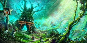Rating: Safe Score: 26 Tags: animal_ears building forest foxgirl grass green original scenic tail tami torii tree User: FormX