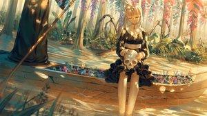 Rating: Safe Score: 45 Tags: boat bones dress flowers forest grass ji_dao_ji original skull tree water white_hair wings User: BattlequeenYume