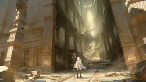 Rating: Safe Score: 97 Tags: cape original ruins scenic staff stairs void_0 white_hair User: BattlequeenYume