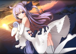Rating: Questionable Score: 55 Tags: anthropomorphism ass azur_lane blue_eyes bow clouds dress elbow_gloves gloves hms_unicorn_(azur_lane) long_hair nopan purple_hair sky tagme_(artist) water User: BattlequeenYume