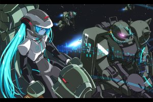 Rating: Safe Score: 210 Tags: aqua_eyes aqua_hair bodysuit crossover gun hatsune_miku long_hair mecha mobile_suit_gundam saitom space stars twintails vocaloid weapon User: opai