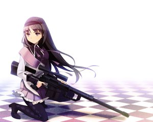 Rating: Safe Score: 104 Tags: akemi_homura black_hair gun kotetu mahou_shoujo_madoka_magica pantyhose weapon User: Wiresetc