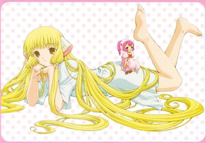 Rating: Safe Score: 31 Tags: barefoot blonde_hair chii chobits pink_eyes pink_hair short_hair sumomo yellow_eyes User: SciFi
