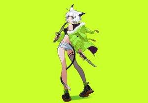 Rating: Safe Score: 34 Tags: animal_ears aqua_eyes boots catgirl green hoodie knife original short_hair shorts socks stockings tail weapon white_hair yuu_(higashi_no_penguin) User: otaku_emmy