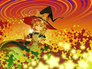 Rating: Safe Score: 42 Tags: blonde_hair bow dress flowers hat kirisame_marisa polychromatic stars touhou witch witch_hat yellow_eyes zounose User: STORM