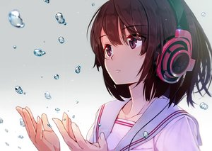 Rating: Safe Score: 324 Tags: brown_eyes brown_hair headphones machimura_komori original school_uniform short_hair water User: humanpinka