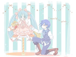 Rating: Safe Score: 30 Tags: hatsune_miku kaito lolita_fashion vocaloid world_is_mine_(vocaloid) User: HawthorneKitty