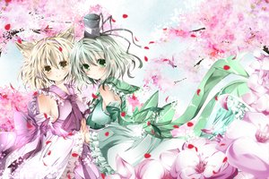 Rating: Safe Score: 73 Tags: animal_ears cherry_blossoms dress flowers green_eyes nanase_nao petals soga_no_tojiko touhou toyosatomimi_no_miko User: opai